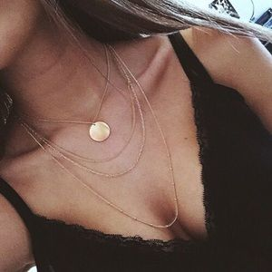 Jewelry - Multi Layer Gold Coin Dainty Choker Necklace
